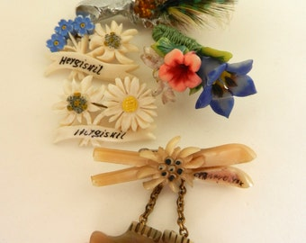 1940 Ancient European brooches - Pins for hat --MIZPAH signed - 5 Pieces adorable  souvenir jewellery collection - Art.253/2--