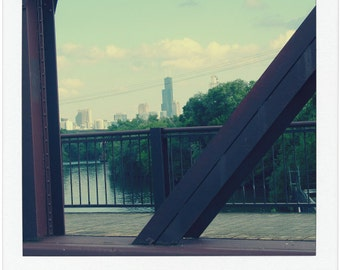 Chicago Photo, Chicago Skyline, print, Webster Avenue Bridge, Chicago Photography, Willis Tower, Chicago Art, aqua, polaroid style, travel