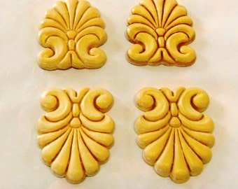 "8 Wood Onlays Appliques Embossed Trims Ornaments Pediments Small Plumes 2-1/8"" X 1-5/8"""