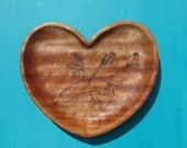 ROSE BUD Heart Bowl, Hand Carved Bowl with Rose Bud Design in African Mahogany