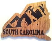 Wooden scroll saw cut state of South Carolina--6st