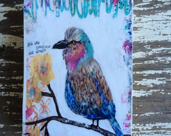 Bird,ACEO  Reproduction Mounted On Wood Block by Sunshine Girl Designs (2.5 x 3.5 Inches Print)
