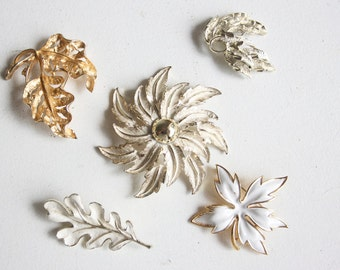 Vintage Brooch, Scatter Pin Collection, Gold and White Leaves, Gift for Her, Fall Fashion, White Jewelry, Gift For Mom, Grandma, Under 30