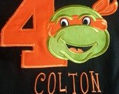Orange Ninja Turtle Birthday  Shirt - Short Sleeve