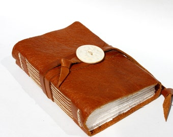 Handbound Leather Journal or Sketchbook with Handmade Porcelain Button