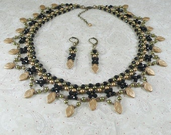 Woven Necklace and Earrings in Gold and Black
