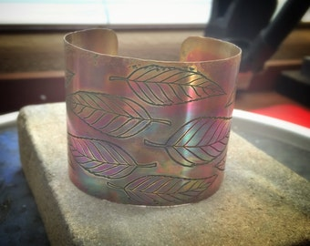 Copper Etched Cuff Bracelet