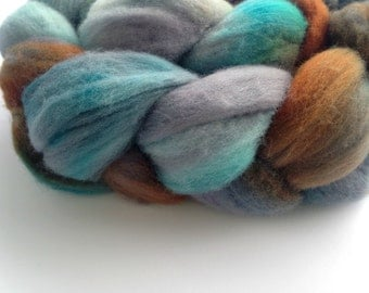 Merino Hand Dyed roving - Wool Roving - Verdigris 4 ounces