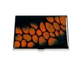 Business Card Case Hand Painted Metal Wallet Orange and Black Pebble Design Hand Painted Enamel