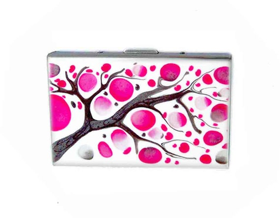Accordion Wallet Metal Wallet with Credit Card Organizer Hand Painted Enamel Fuchsia and Gray Blossom Custom Colors and Personalized Options