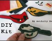 DIY Kit Felt Wild Bird Christmas Ornaments Fusing and Hand Sewing 1201