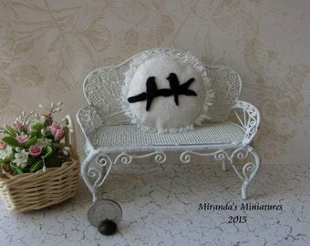 Dollhouse Miniature round Bird Silhouette Pillow