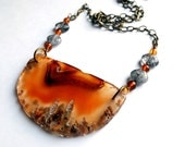 Agate geode slice statement necklace with baltic amber & quartz on antiqued brass chain, unique, one of a kind