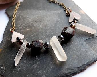 Boho chic crystal points necklace, garnet, rose quartz, smoky quartz and hematite - crystal healing, confidence, love, boho necklace