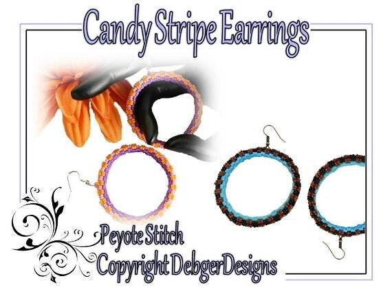 Candy Stripe Earrings - Beading Pattern Tutorial