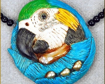 Hand sculpted Blue & Gold Macaw Necklace by Critter Craft