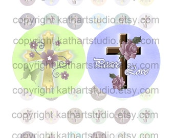 Instant Download - Religious Christian Cross Flowers - 7/8 inch circles for bottle caps, pendants, stickers, tiles 336