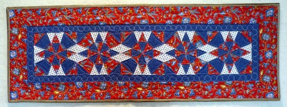 Star red white and blue table runner quilt singaporean fabrics