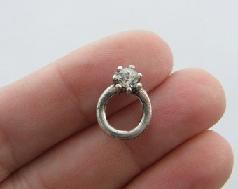 BULK 30 Engagement ring charms antique silver tone M235 - SALE 50% OFF