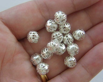 100 Spacer beads 8mm silver plated S21