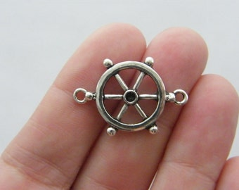 8 Helm connector charms antique silver tone SC8