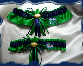 Green Satin Skinny Wedding Garter Set Made with Notre Dame Fabric