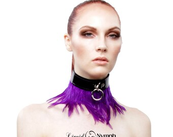 BDSM Collar Choker - Ambrosia Patent Leather Purple Feathered Bondage - Feathered Slave Choker - Kitten Pet Play Slave and feith Collar