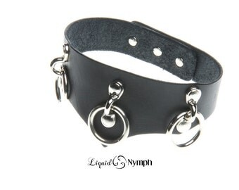 CHASTITY Black Leather 3 Rings Pointed Classic Leather Bondage Fetish & Slave Collar - Dungeon Couture BDSM Choker Kitten Play DDLg Collar