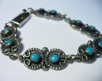 """Vintage turquoise sterling silver link bracelet - Taxco Mexico - 7.75"""""""