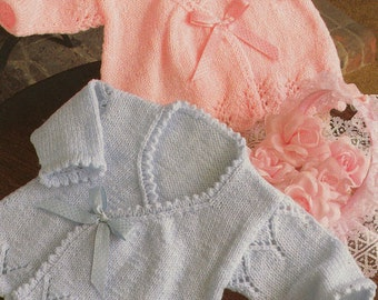 Knitting pattern PDF for baby girls wrap crossover cardigans in sizes 14 16 and 18 inch chest newborn premature