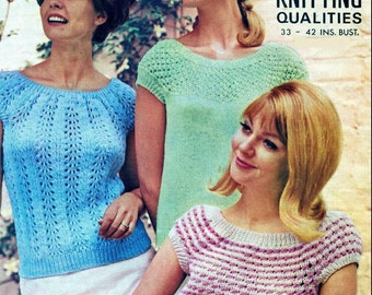 Knitting Pattern - Vintage designs - ladies Sweaters/Tops/Jumpers - 33 to 42 in bust PDF