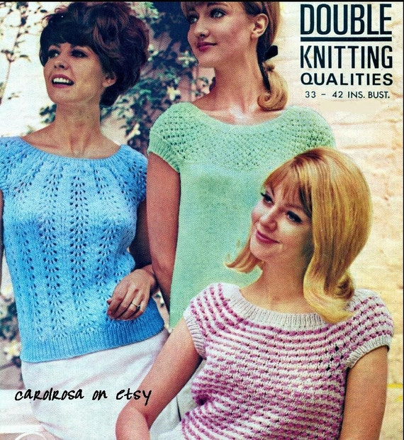 832404b9e0f46 knitting pattern vintage designs ladies sweaters tops jumpers 33 to 42 in  bust pdf. ETSY