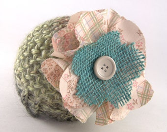 Newborn Green knitted baby beanie hat, Alpaca yarn, photo prop, handmade flower, fabric flower