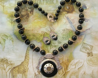STRIKING Contemporary African Berber Tuareg Pendant, 2 Fish, Onyx & Sterling Silver, Statement Necklace Set by SandraDesigns