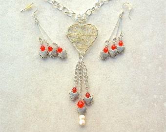 Entangled Heart! Silver Heart Pendant & Heart Dangles, Adjustable Chain, Fancy Earrings, Necklace Set by SandraDesigns