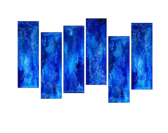 ORIGINAL Abstract Painting Textured Contemporary Blue Fine Art by Henry Parsinia Large48x24