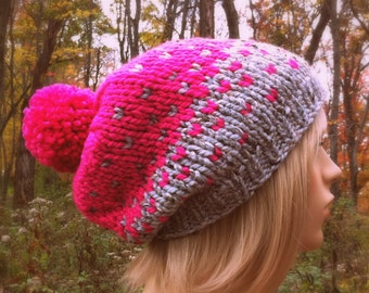 Hand Knit Hat Womens Chunky Slouchy Pom Pom Ski Hat - Gray Marble and Neon Pink Ombre - MADE TO ORDER