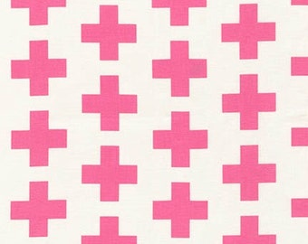 Geo Pop Canvas, from Robert Kaufman and Emmie K, Cross Pink -  1/2 yd total