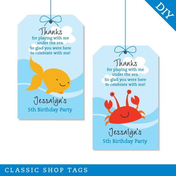 Under The Sea Party Personalized DIY Printable Favor Tags