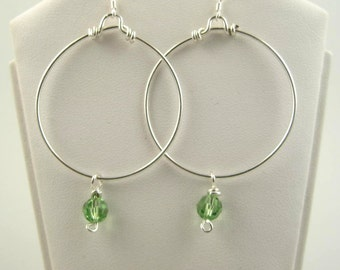 WSE-0113  Individual Birthstone Handmade Swarovski Crystal and .925 Sterling Silver Wire Wrapped Hoop Earring
