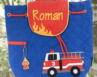 Personalized Stephen Joseph quilted backpack / boy birthday gift/boy firetruck backpack