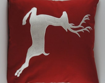 "Embroidered Decorative Pillow Cover - Deer - 18"" x 18"" Red (READY TO SHIP)"
