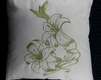 """ON SALE (Reg price is 24 USD) Hummingbird Pillow Cover, Embroidery, Spring Pillow, Summer Pillow, 18""""x18"""", Natural, Green, Ready to ship"""