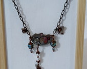 Clockwork Charms Necklace - Sapphire Blue and Pearl