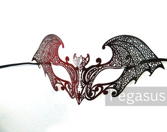 Red and Black Gothic Bat Venetian Filigree Scroll work Metal Masquerade Mask (1 Piece)(one size) light weight Laser Cut Mask