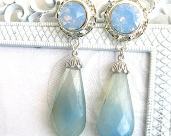 Sky Blue Chalcedony with Swarovski air blue opal crystal semiprecious gem dangle earrings Post earrings silver crystal chalcedony briolette