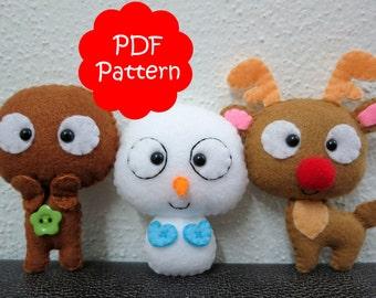 Christmas Set (Gingerbread, Reindeer, Snowman) Plush PDF Pattern -Instant Digital Download