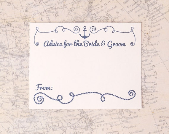Nautical Advice Cards Advice For The Bride & Groom By