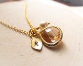 November Birthstone Necklace, Topaz Necklace, Gold Leaf with Initial Jewel and Pearl, Gold Birthstone Jewelry, November Birthday Gift