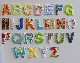 Magnetic Alphabet Letters, Letter Magnets, Alphabet Refrigerator Magnets, Fabric Letters, Fabric Alphabet,